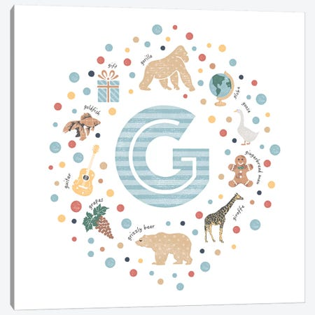 Illustrated Letter G Blue 3-Piece Canvas #PPX148} by PaperPaintPixels Art Print