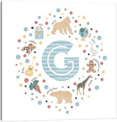 Illustrated Letter G Blue Canvas Art Print