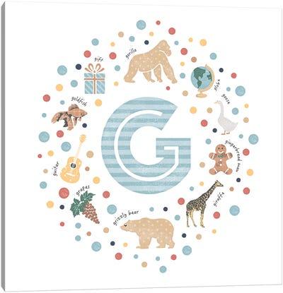 Illustrated Letter G Blue Canvas Art Print