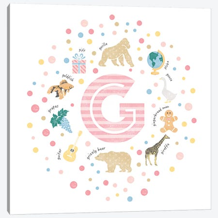 Illustrated Letter G Pink 3-Piece Canvas #PPX149} by PaperPaintPixels Canvas Print