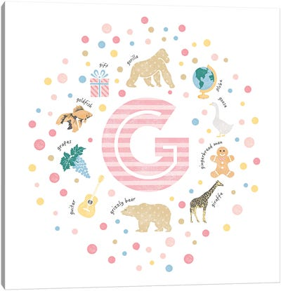 Illustrated Letter G Pink Canvas Art Print