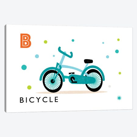 B Is For Bicycle Canvas Print #PPX14} by PaperPaintPixels Canvas Art