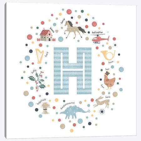 Illustrated Letter H Blue Canvas Print #PPX150} by PaperPaintPixels Canvas Art