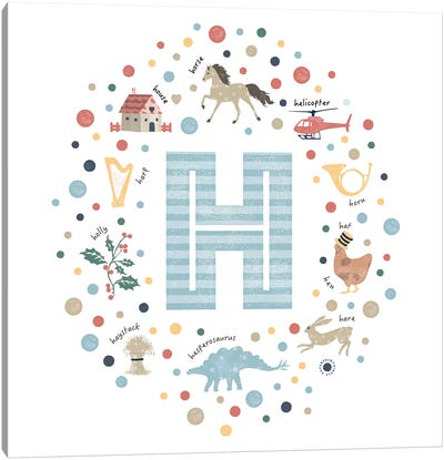 Illustrated Letter H Blue Canvas Art Print