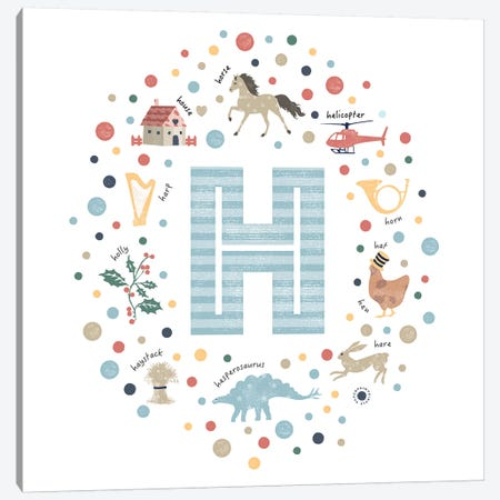 Illustrated Letter H Blue Canvas Print #PPX150} by PaperPaintPixels Canvas Art