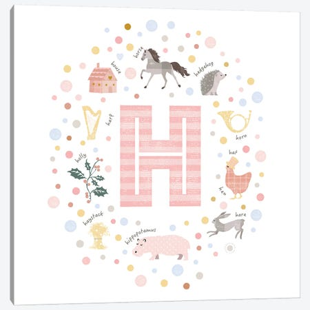 Illustrated Letter H Pink Canvas Print #PPX151} by PaperPaintPixels Canvas Artwork