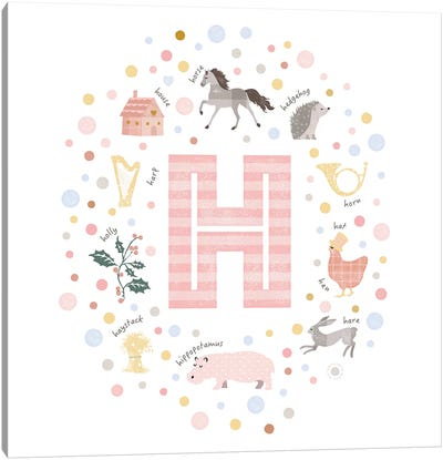 Illustrated Letter H Pink Canvas Art Print