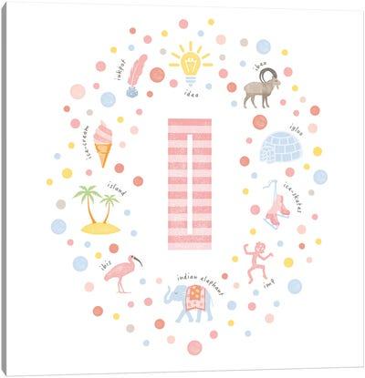 Illustrated Letter I Pink Canvas Art Print