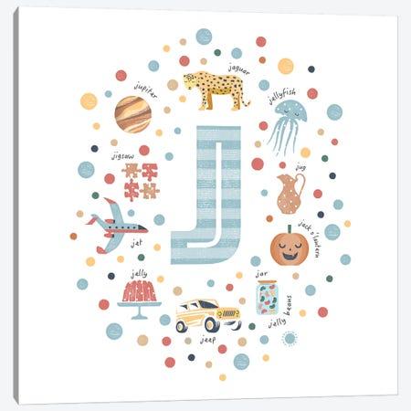 Illustrated Letter J Blue 3-Piece Canvas #PPX154} by PaperPaintPixels Art Print