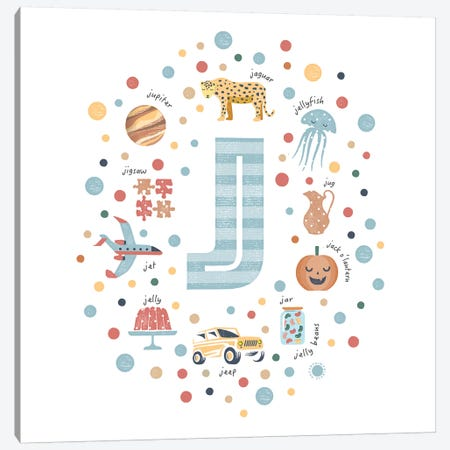 Illustrated Letter J Blue Canvas Print #PPX154} by PaperPaintPixels Art Print