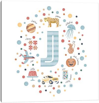 Illustrated Letter J Blue Canvas Art Print