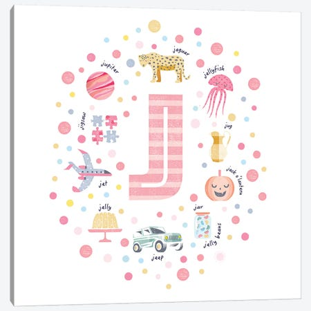 Illustrated Letter J Pink 3-Piece Canvas #PPX155} by PaperPaintPixels Canvas Art Print
