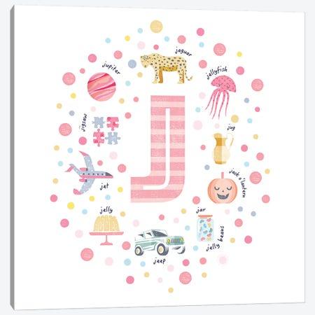 Illustrated Letter J Pink Canvas Print #PPX155} by PaperPaintPixels Canvas Art Print