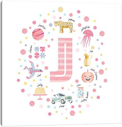 Illustrated Letter J Pink Canvas Art Print