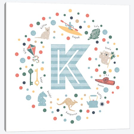 Illustrated Letter K Blue Canvas Print #PPX156} by PaperPaintPixels Art Print