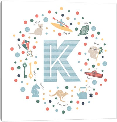Illustrated Letter K Blue Canvas Art Print