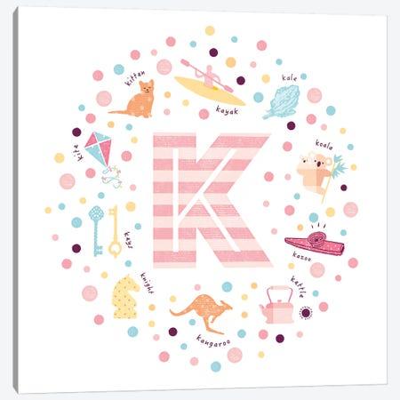 Illustrated Letter K Pink Canvas Print #PPX157} by PaperPaintPixels Art Print