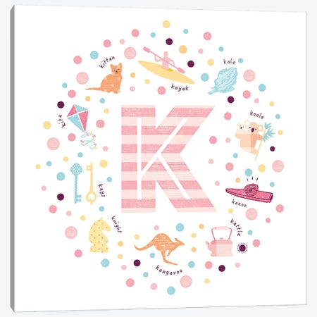 Illustrated Letter K Pink Canvas Print #PPX157} by PaperPaintPixels Art Print