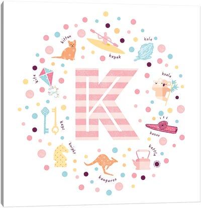 Illustrated Letter K Pink Canvas Art Print