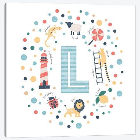 Illustrated Letter L Blue Canvas Print #PPX158} by PaperPaintPixels Canvas Artwork