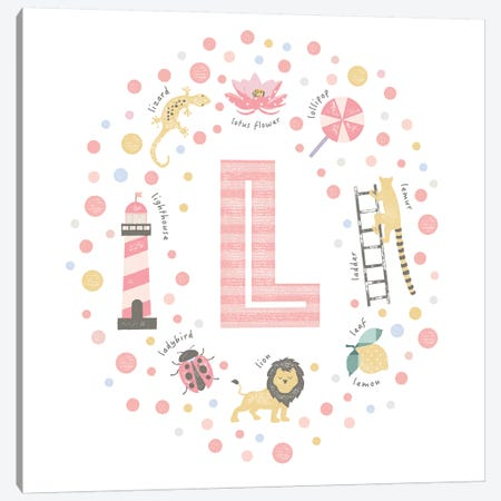 Illustrated Letter L Pink Canvas Print #PPX159} by PaperPaintPixels Canvas Artwork