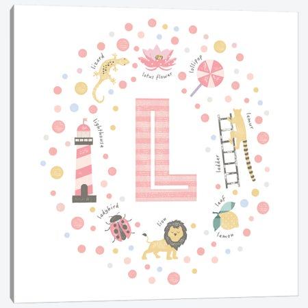 Illustrated Letter L Pink Canvas Print #PPX159} by PaperPaintPixels Canvas Artwork