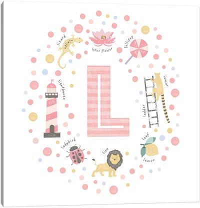 Illustrated Letter L Pink Canvas Art Print