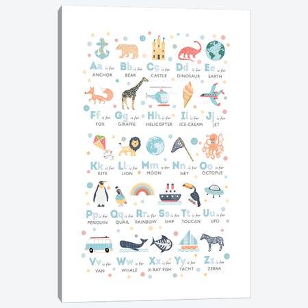 Boys Illustrated Alphabet Canvas Print #PPX15} by PaperPaintPixels Canvas Artwork