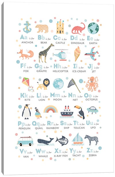 Boys Illustrated Alphabet Canvas Art Print