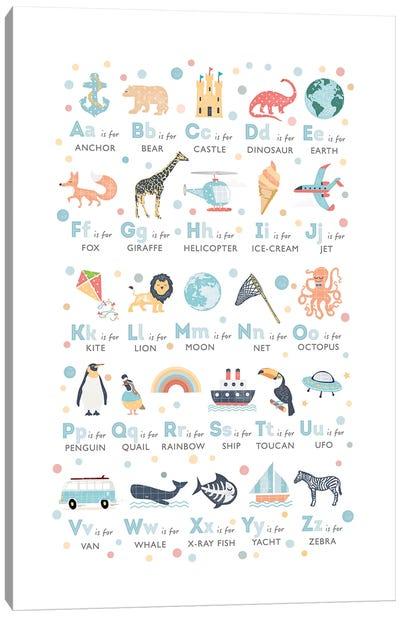 Boys Illustrated Alphabet Canvas Art Print