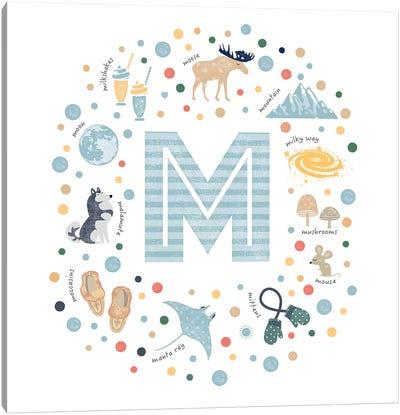 Illustrated Letter M Blue Canvas Art Print
