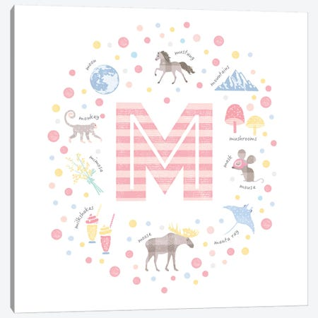 Illustrated Letter M Pink Canvas Print #PPX161} by PaperPaintPixels Art Print