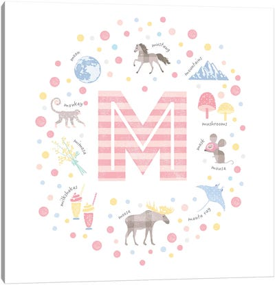 Illustrated Letter M Pink Canvas Art Print