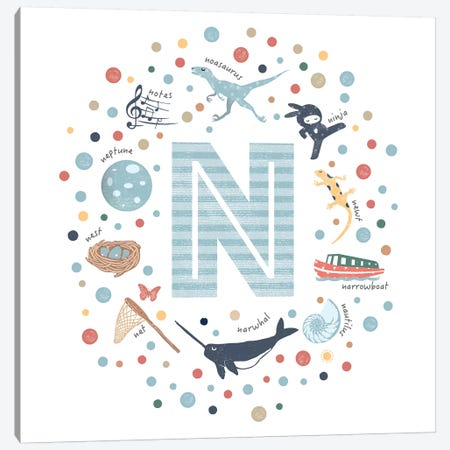 Illustrated Letter N Blue Canvas Print #PPX162} by PaperPaintPixels Canvas Print