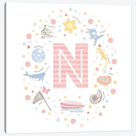 Illustrated Letter N Pink Canvas Print #PPX163} by PaperPaintPixels Art Print