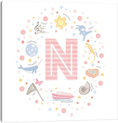Illustrated Letter N Pink Canvas Art Print