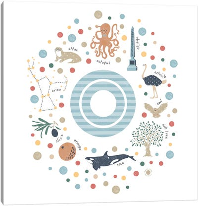 Illustrated Letter O Blue Canvas Art Print