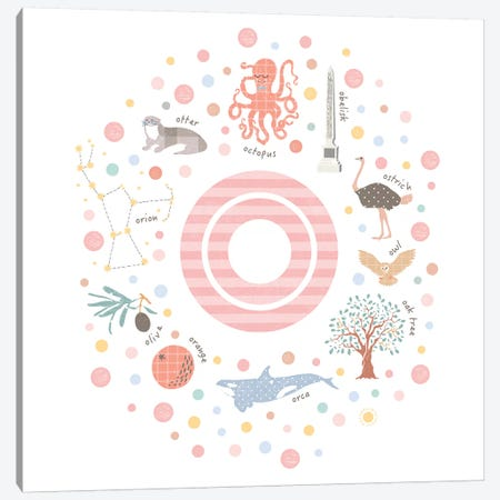 Illustrated Letter O Pink 3-Piece Canvas #PPX165} by PaperPaintPixels Canvas Art