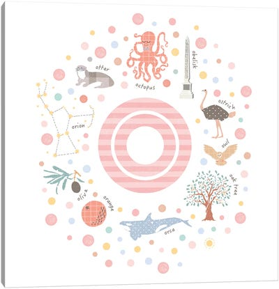 Illustrated Letter O Pink Canvas Art Print