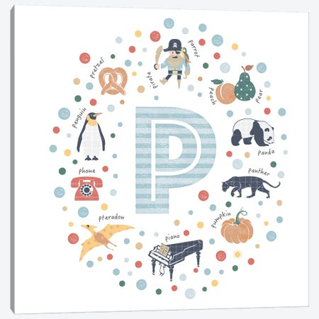 Illustrated Letter P Blue Canvas Print #PPX166} by PaperPaintPixels Canvas Artwork