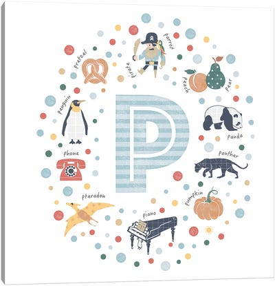 Illustrated Letter P Blue Canvas Art Print