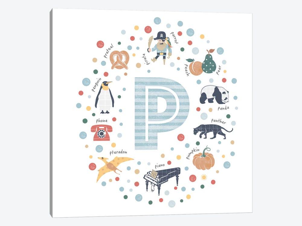 Illustrated Letter P Blue by PaperPaintPixels 1-piece Canvas Art
