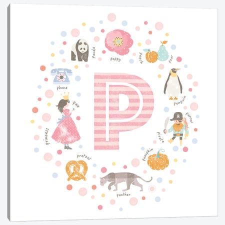 Illustrated Letter P Pink Canvas Print #PPX167} by PaperPaintPixels Canvas Art