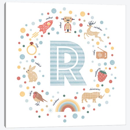Illustrated Letter R Blue Canvas Print #PPX168} by PaperPaintPixels Canvas Art Print