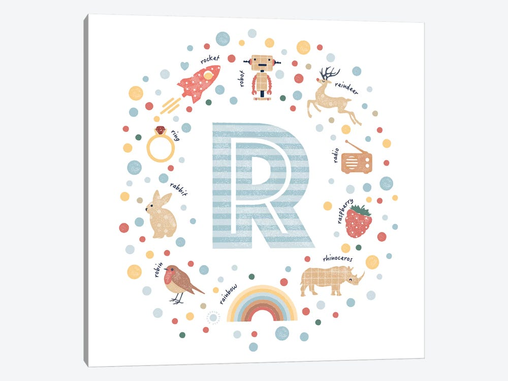 Illustrated Letter R Blue by PaperPaintPixels 1-piece Canvas Wall Art