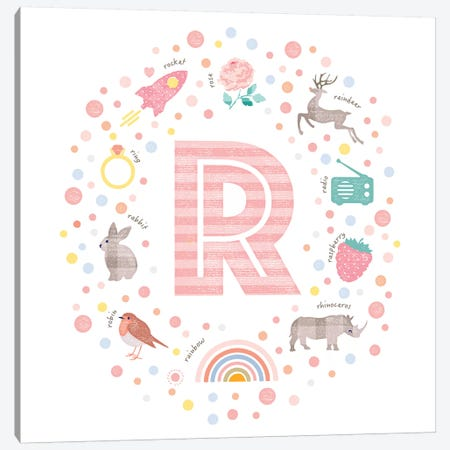 Illustrated Letter R Pink Canvas Print #PPX169} by PaperPaintPixels Canvas Print