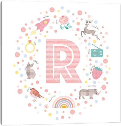 Illustrated Letter R Pink Canvas Art Print
