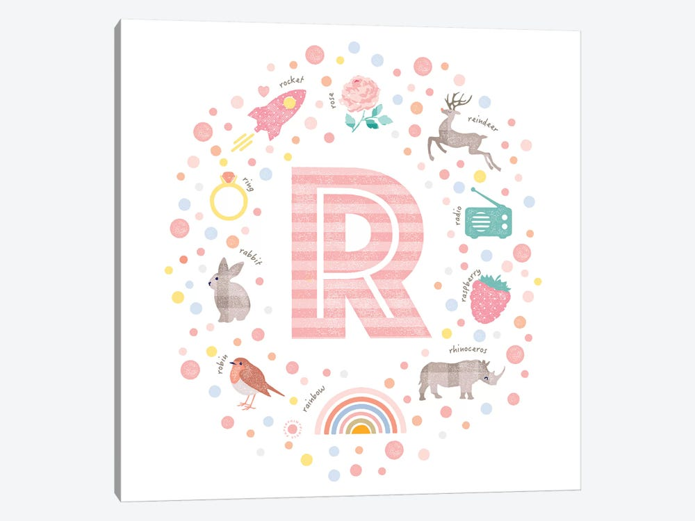 Illustrated Letter R Pink by PaperPaintPixels 1-piece Canvas Print