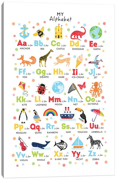 Bright Alphabet Canvas Art Print
