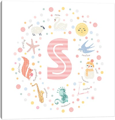Illustrated Letter S Pink Canvas Art Print
